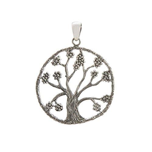 Shadi - Colgante elaborado en plata de ley oxidada, árbol de la vida -joyería de plata artesanal