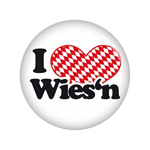 Kiwikatze® Regional - I love Wies'n 37mm Button Ansteckbutton Pin Geschenk Mitbringsel Oktoberfest Wiesn Volksfest für Dirndl oder Lederhose