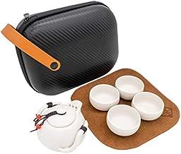 Letsatea Chinese Tea Set/Janpanese Tea Set/Kungfu Tea Set Gongfu Tea Set /100% Handmade/Penguin Teapot- Porcelain Teapot & 4 Teacups & Tea Towel with a Convenient Travel Bag (White)