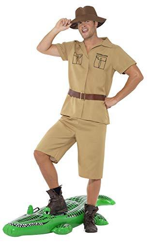 """Smiffys-41044M Traje de Hombre Safari, con Camisa, Shorts, Cinturón y Sombrero, Color marrón, M-Tamaño 38""""-40"""" (Smiffy"""