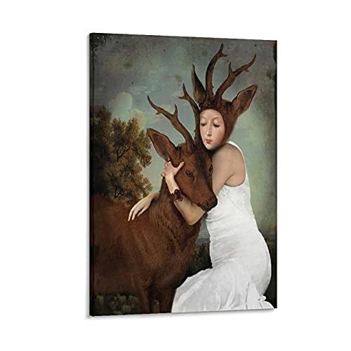 VBRT Poster décoratif sur toile Trust between Man and Animal 60 x 90 cm