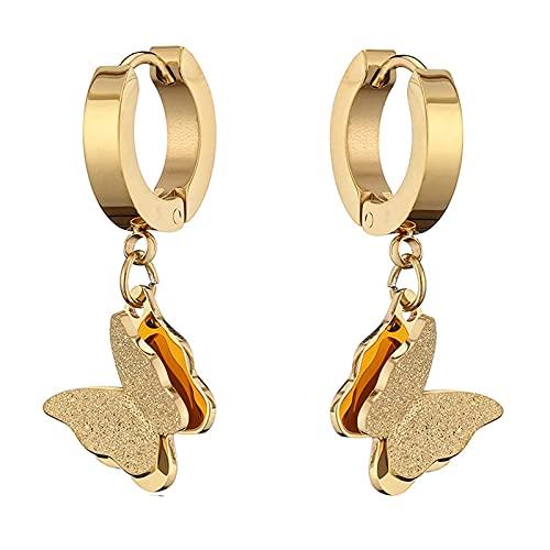 LBMTFFFFFF Pendientes para Mujer Niña Pendientes Colgantes de Aro de Acero Titanio para Navidad San Valentín 's, Plata,Oro