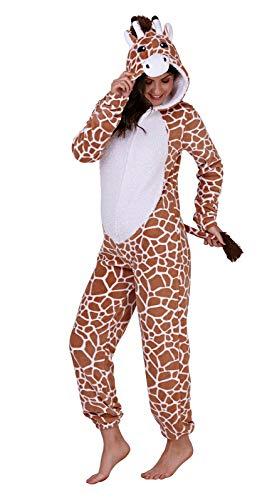 Loungeable Damen Jumpsuit Overall Tiere Gesichter Öhrchen 3D Kapuze Giraffe 799017 L
