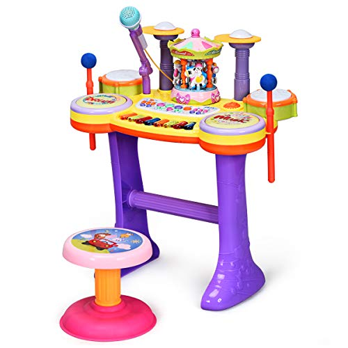 Costzon 4 in1 Educational Piano Drum Toy Set for Kids, with Dancing Carousel, Baby Piano, Drum, and Microphone, Kids Musical Piano Toy with 8 Key Piano and 6 Beats Drum for Toddler (Carousel)
