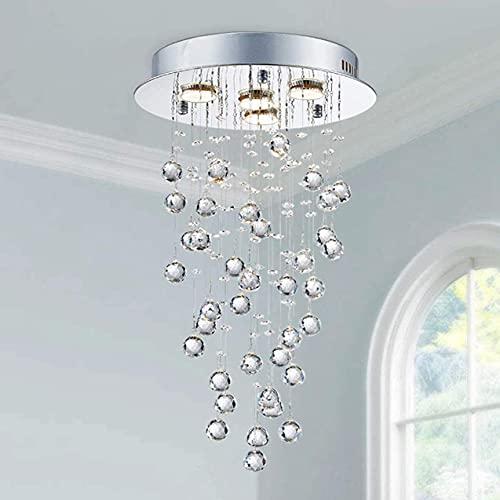 Saint Mossi Modern Crystal Chandelier,4 Lights with GU10 Bulbs,Raindrop Chandelier Lighting in K9 Crystals,Flush Mount Ceiling Light Fixture for Dining Room,Bedroom,Living Room,H22' x D13'