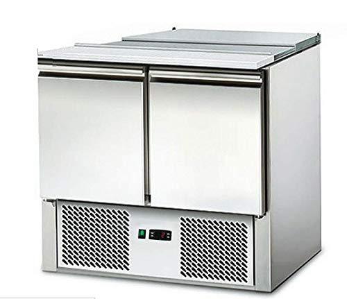 Saladette - Kühltisch mit Deckel - 2Türen - Salatkühlung -Gastro - mit Schneidbrett und Arbeitsfläche aus Edelstahl
