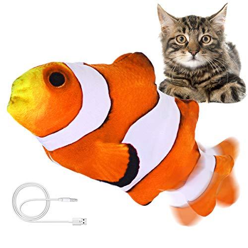 Jeteven Elektrisch Spielzeug Fisch, Katzenminze Fisch Spielzeug, Katze Interaktive Spielzeug mit USB, Simulation Plush Fisch, für Katze, Kitty Spielt, Beißt, Kaut und Tritt