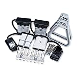 Micrl 4 Pcs 1/0 Gauge 175A Battery Quick Connect/Disconnect with Handle, Jumper Cable Plug Connector Kit for Recovery Winch,Trailer, Car (Grey)