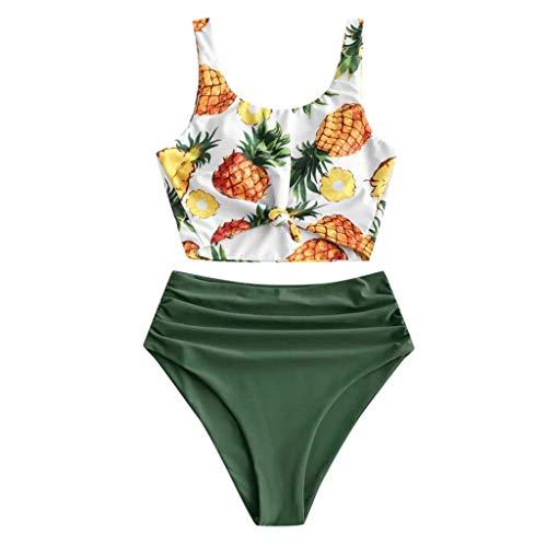 Hingpy Bikini Sexy Ananas Print geknoteter Rundhalsausschnitt High Cut Tanga Bedruckter Badeanzug Beachwear