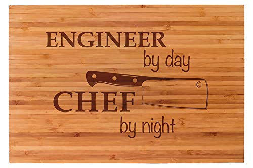 Engineer By Day Engraved Cutting Board, 15' x 10', Unique Gift For Engineers, Premium Bamboo Cutting Board, Great Christmas Gift Idea