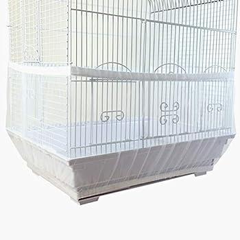 Matogle Couverture à Cage d'oiseaux L Housse en Filet à Cage d'Oiseau 66 × 28 cm pour Volière de Perruches Canaris Perroquets Etanche à Poussière Récupérer Graines (Blanc)