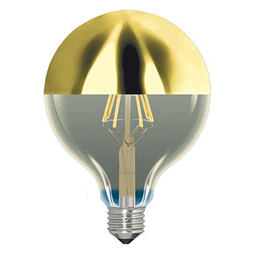 Bombilla GLOBO LED Regulable 6W con cúpula dorada de diámetro 95mm rosca E27 de luz cálida 2200K Ref. 174-4-070