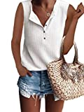 Famulily Tank Tops for Women Loose Button Down Henley Style Sleeveless Waffle Knit Shirt White S