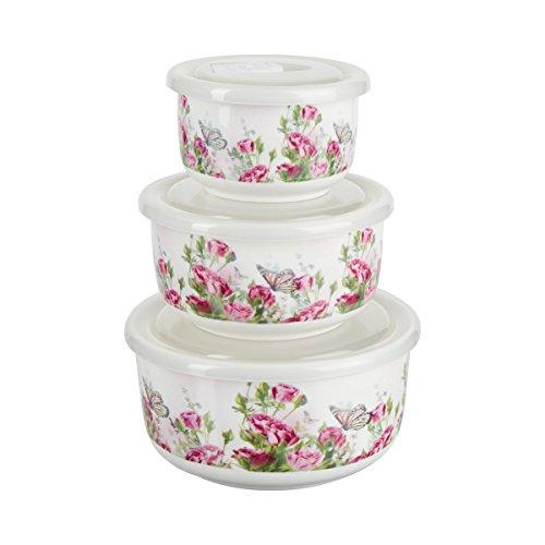 TRI Porzellanschüssel-Set 6 Teile ,Servierschüssel Mikrowellenschüssel, Porzellan, 3 Größen 250 ml 500 l & 700 ml, Blumenprint weiß