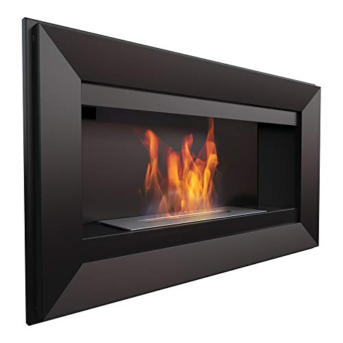 KRATKI CHARLIE Bio Fireplace 510 x 880 cm 0.75 L Container Black with Glazing 4 mm Glass Thickness Ethanol Wall Fireplace Ideal for Home, Living Room or Bedroom TÜV Rheinland Tested