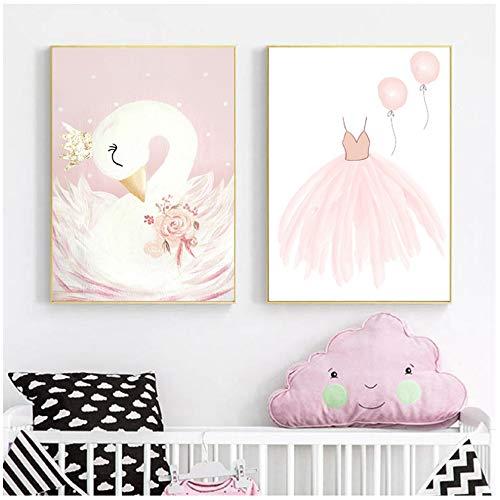 Imprimir en lienzo Acuarela Cisne rosa Lámina de pared Cuadro infantil Bailarina de vivero Cartel de lienzo Póster de lienzo Decoración de la habitación de la niña 11.8