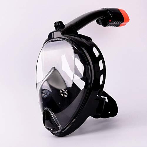 Robuste Vollmaske Schnorchelmaske Vollgesichtsmaske Tauchermaske für 180° Sichtfeld und Kamerahaltung mit Rundumsicht Anti-Fog Anti-Leck Kompatibel mit der Kamera Wasser ( Color : Black , Size : L )