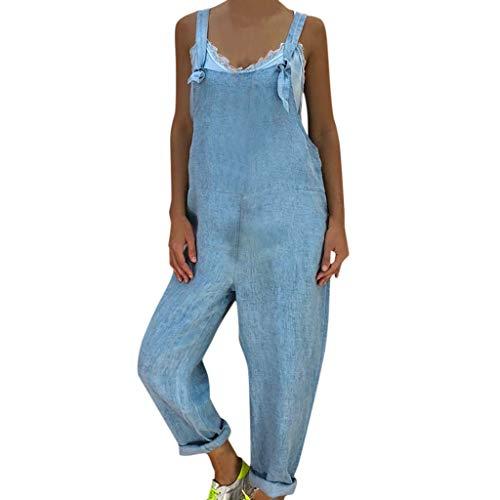 Yanhoo Beiläufige lose ärmellose Denim Overall Hosenträger der Frauen mit Taschen Overall Lose große Jeansoverall-Hosenträgeroverall der Frauen