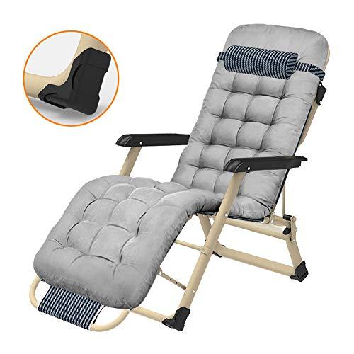 Chaise De Plage Pliable Portative, Confortable Canapé Oversize Zero Gravity Patio Chaise Longue Chaise Chaise Pliante dans Le Jardin Et Plein Air Plage Fauteuil Inclinable,Pearl Cotton Pad