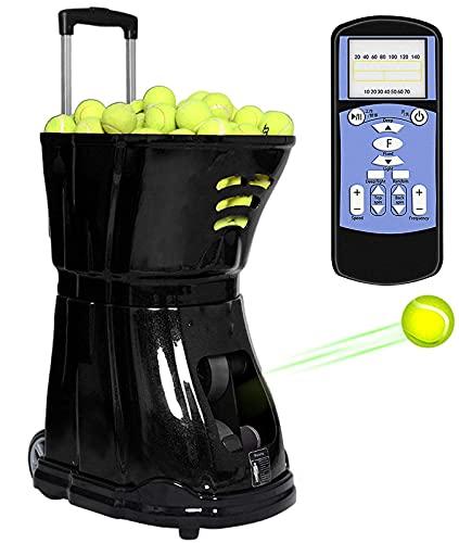 QQ HAO Máquina De Pelota De Tenis, Máquinas De Lanzamiento De Pelota De Tenis con Función De Control Remoto, Máquina De Senderos De Tenis Tinte Liviano Toss Toss Conecte En 150 Bolas,Negro