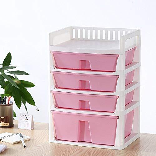 DNSJB Multicapa de escritorio caja de almacenaje de los efectos de cajones Acabado Caja de almacenamiento de color cajón de plástico joyas caja de almacenamiento ( Color : Pink , Size : 34.5*24.5*48 )