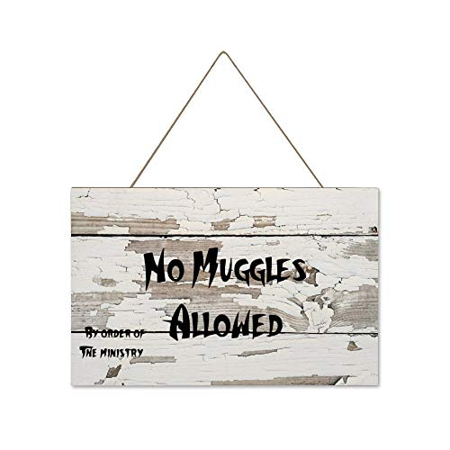 DONL9BAUER No Muggles Allowed Funny Ministry Hanging Wood Sign Plaque Wall Decor Sign Rustic Wall Art for Living Room Indoor Outdoor