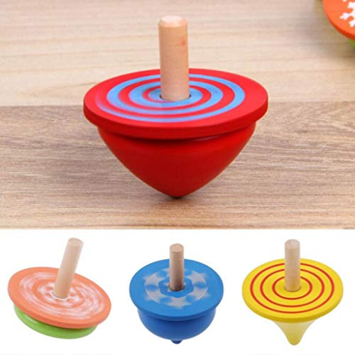 Why Should You Buy Kekailu Wooden Gyro Toy,4Pcs Colorful Wooden Desktop Spinning Top Peg-Top Gyro To...