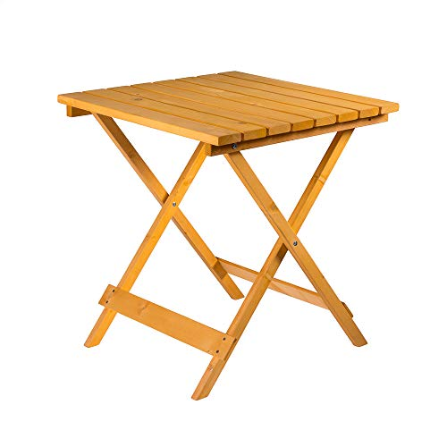 Square Folding Wooden Garden Table - Foldaway Garden Coffee Side Table Suitable for Indoor and Outdoor Use - Ideal for Garden, Patio, Bistro, Dining, Drinks and More
