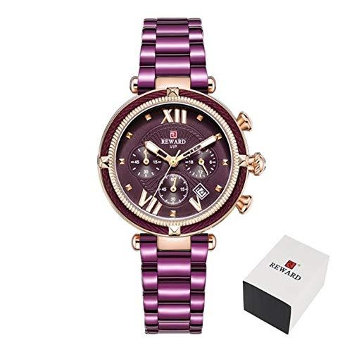 JIADUOBAO Reloj de pulsera para mujer de lujo, correa de acero, cuarzo, color morado
