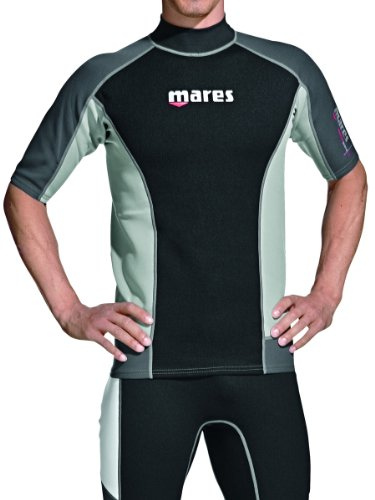 MARES Short Sleeve Trilastic Rash Guard, Uomo, 482062-S, Black Grey, S