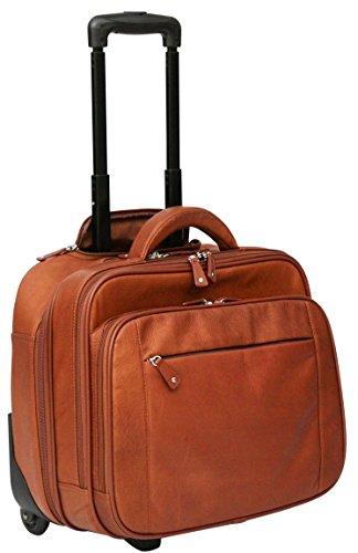 Cortez Genuine Leather Rolling Business Case - Removable Laptop Pouch - Cognac