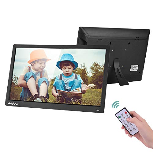 Andoer 17.3 Inch Digital Picture Frame 1600x900 Resolution with 16:9 TN Screen,Digital Photo Frame with IR Remote Control Support 1080P Video Calendar Clock MP3 Music Support Max 64GB SD Card and USB
