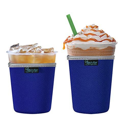 Beautyflier 2 Stück Isolierte Neopren-Eiskaffee-Hüllen Anti-Rutsch-Tassenhalter für kalte Getränke, Starbucks Kaffee, McDonalds, Dunkin Donuts (blau)