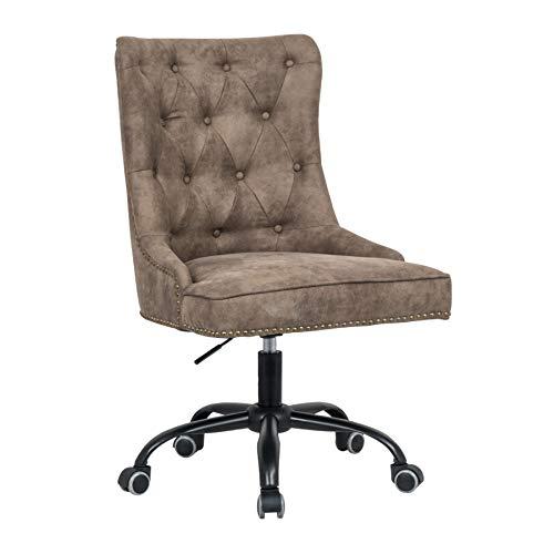 Riess Ambiente Design Bürostuhl Victorian Vintage Hellbraun mit Armlehne Stuhl höhenverstellbar mit Leichtlaufrollen