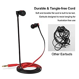 Earbuds, Vogek Tangle-Free Flat Cord Ergonomic in-Ear Headphones with Dynamic Crystal Clear Sound, Earphones with S/M/L Eartips Compatible with Samsung, Android Phone and More (Black-Red)