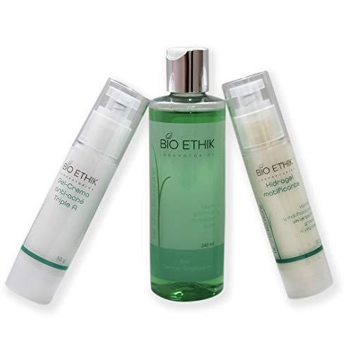 Bio Ethik Paquete de Tratamiento Facial Anti Acne, Limpia, controla e hidrata la piel con acne. Tripe A 50 gr -Gel Dermo-Limpiador Jabón Facial 200 ml-Hidragel Matificante y Antioxidante 50 gr