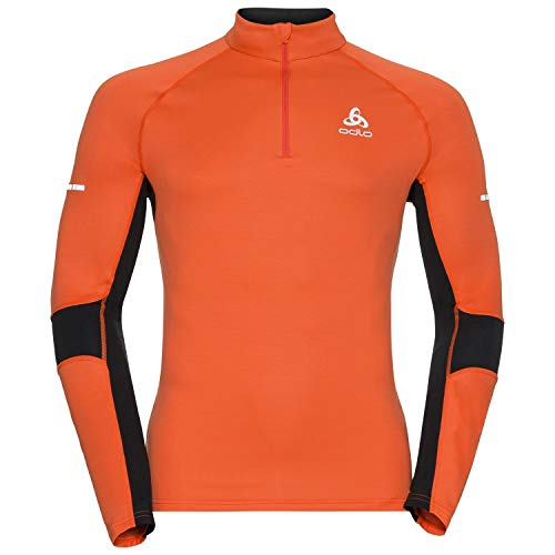 Odlo Omnius Pull 1/2 zippé Homme, Orangeade/Noir, FR (Taille Fabricant : XL)