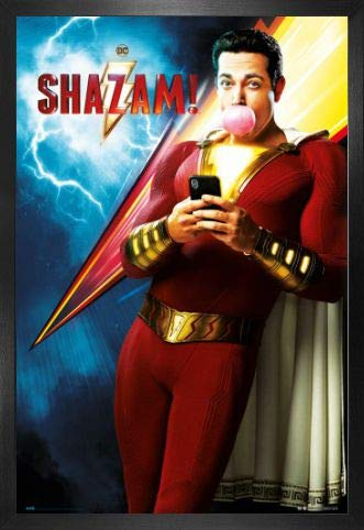 1art1 Shazam! Póster con Marco (Madera DM) - DC Comics Shazam One Sheet (91 x 61cm)