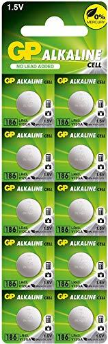 GP Batterien Alkaline Knopfzellen LR43 10 Stück (AG12 /LR1142 / 386 / V12GA) 1,5V (1,5 Volt Spannung)