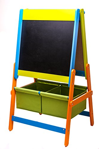 Essential Home School 3 in 1 Easel  Blackboard Magnetic White Board Paper roll with 2 Storage Bins