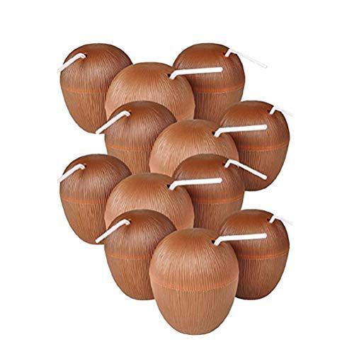 NUOBESTY 12pcs Kokosnussschalen Luau Partei bevorzugt Schalen bewegliche Getränkschalen für hawaiische Partei liefert mit gelegentlicher Farbe des Strohs und der Blume