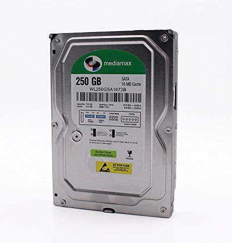 Mediamax 250GB interne Festplatte 3.5 Zoll HDD, SATA III, 6.0 Gb/s, Cache16MB, RPM: 7200 (U/min), WL250GSA1672B, SATA Festplatte intern 250 GB, Backup Festplatte für Desktop PC, Gaming Computer