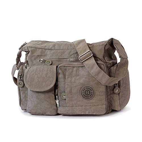 Bag Street D2OTJ205L - Borsa a tracolla da donna, in nylon, colore: grigio/marrone