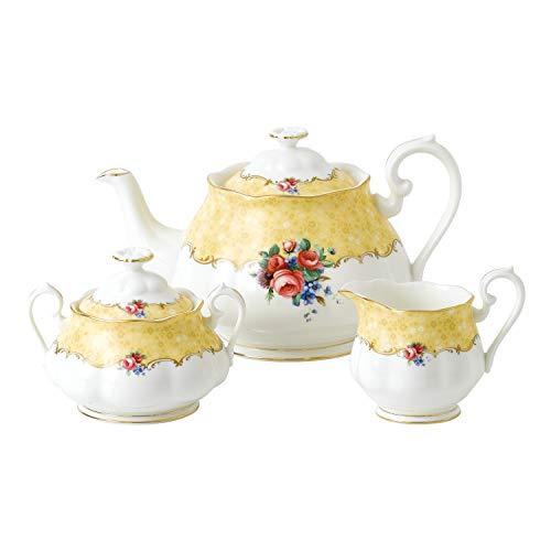 Royal Albert 100 jaar 1990 boeket 3-delige set theepot, suiker & crème geel, bot China, 42.2