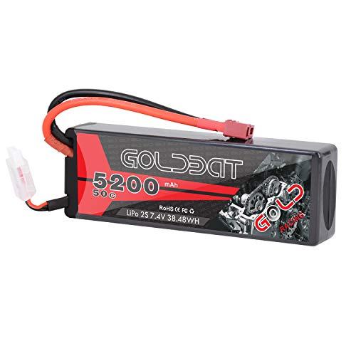 GOLDBAT 5200mAh RC Akku 7.4V 50C 2S LiPo Batterie mit Deans Stecker für RC Evader BX Auto LKW Truggy Buggy Hubschrauber Flugzeug Autorennen (Hardcase)