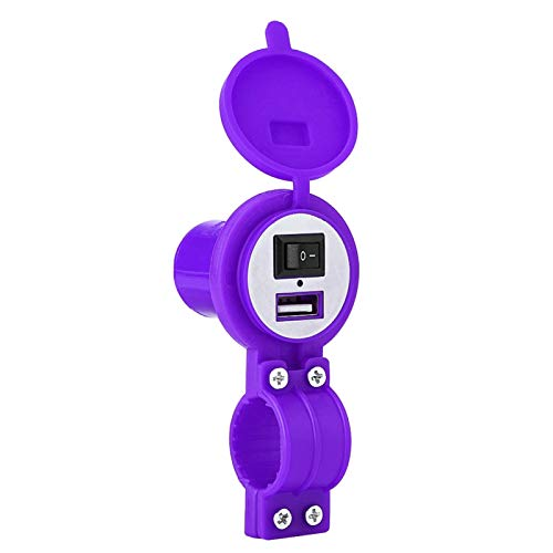 Cargador USB de motocicleta 12-24V Toma de alimentación a prueba de agua Carga rápida para teléfono móvil Cámara digital Mp3 Mp4(púrpura)