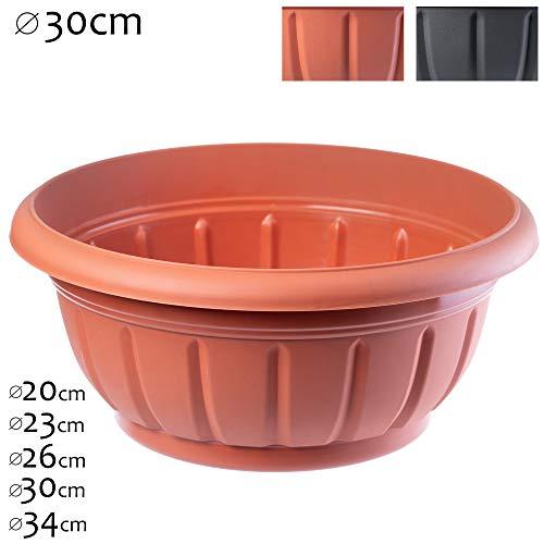 KADAX - Macetero redondo de plástico, resistente a la intemperie, para exteriores, flores, plantas, jardín, balcón, decoración, maceta, resistente a las heladas