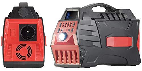 reVolt Powerpack: Powerbank & Solar-Konverter, 80 Ah, 288 Wh, 230 V, 12 V, USB, 500 W (Power Akku)