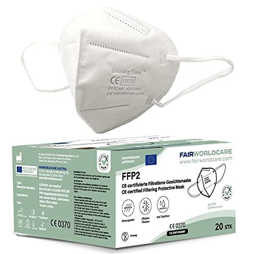 FairWorldCare 20x FFP2-Masken mit Schaumstoff unter dem Nasenbügel in der EU CE geprüft / CE 0370 / DIN EN 149 FFP2 Atemschutzmasken