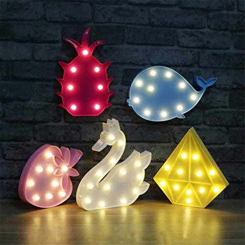 MTX Ltd Lumière de Nuit Créatif Décoratif Forme de Fraise Lampe de Table Enfant Mignon Chambre de Bébé Alimentation Baleine Nuit Lumière